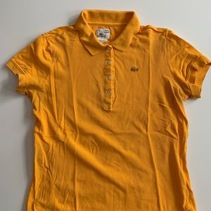 Yellow women's Lacoste polo shirt. Vintage wash
